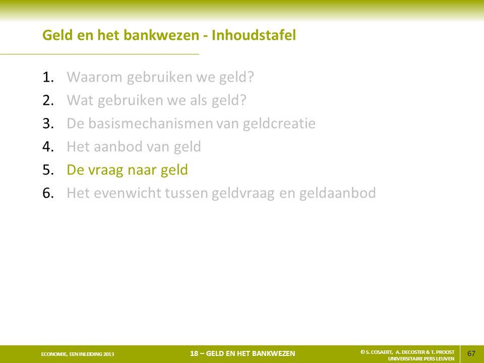 67 ECONOMIE, EEN INLEIDING 2013 18 – GELD EN HET BANKWEZEN © S. COSAERT, A. DECOSTER & T. PROOST UNIVERSITAIRE PERS LEUVEN Geld en het bankwezen - Inh