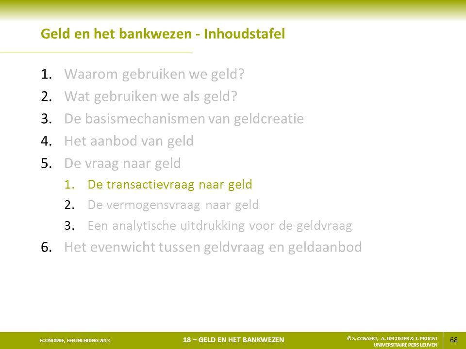 69 ECONOMIE, EEN INLEIDING 2013 18 – GELD EN HET BANKWEZEN © S.