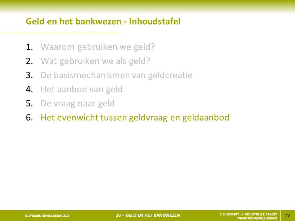79 ECONOMIE, EEN INLEIDING 2013 18 – GELD EN HET BANKWEZEN © S. COSAERT, A. DECOSTER & T. PROOST UNIVERSITAIRE PERS LEUVEN Geld en het bankwezen - Inh