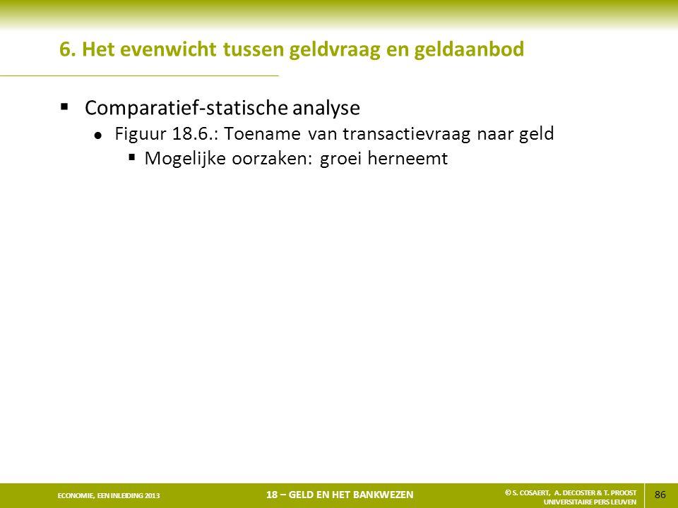 86 ECONOMIE, EEN INLEIDING 2013 18 – GELD EN HET BANKWEZEN © S. COSAERT, A. DECOSTER & T. PROOST UNIVERSITAIRE PERS LEUVEN 6. Het evenwicht tussen gel