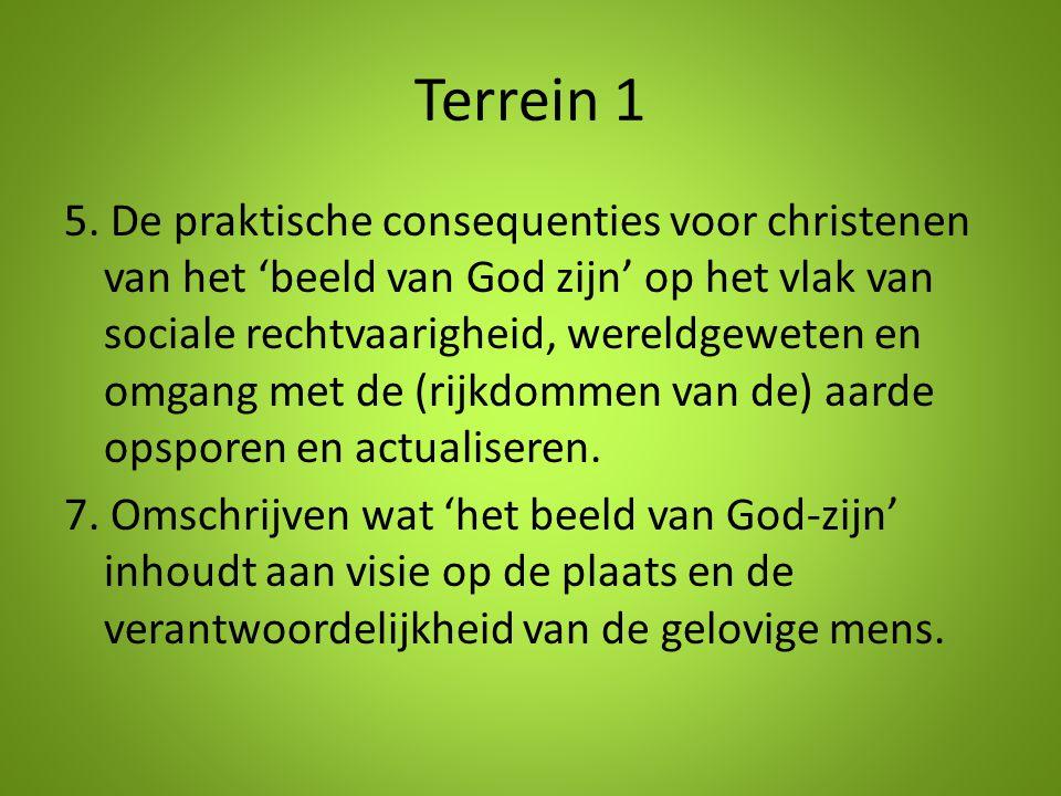 Terrein 1 5. De praktische consequenties voor christenen van het 'beeld van God zijn' op het vlak van sociale rechtvaarigheid, wereldgeweten en omgang