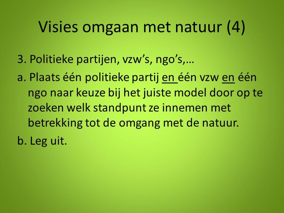 Visies omgaan met natuur (4) 3. Politieke partijen, vzw's, ngo's,… a. Plaats één politieke partij en één vzw en één ngo naar keuze bij het juiste mode