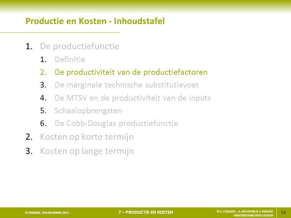 14 ECONOMIE, EEN INLEIDING 2013 7 – PRODUCTIE EN KOSTEN © S. COSAERT, A. DECOSTER & T. PROOST UNIVERSITAIRE PERS LEUVEN Productie en Kosten - Inhoudst