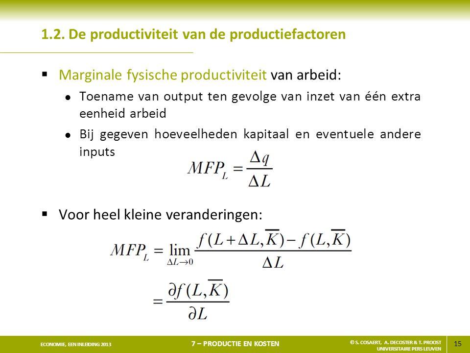 15 ECONOMIE, EEN INLEIDING 2013 7 – PRODUCTIE EN KOSTEN © S. COSAERT, A. DECOSTER & T. PROOST UNIVERSITAIRE PERS LEUVEN 1.2. De productiviteit van de