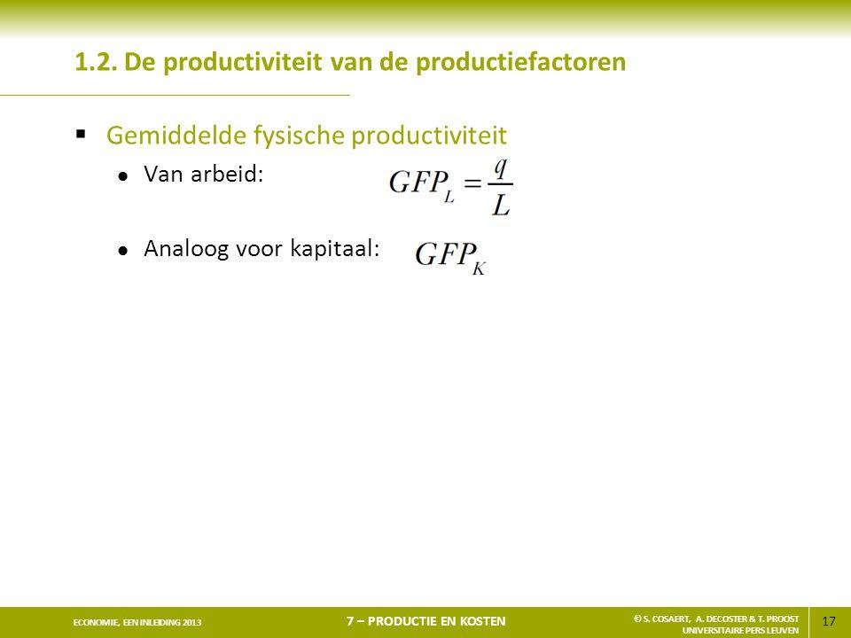 17 ECONOMIE, EEN INLEIDING 2013 7 – PRODUCTIE EN KOSTEN © S. COSAERT, A. DECOSTER & T. PROOST UNIVERSITAIRE PERS LEUVEN 1.2. De productiviteit van de