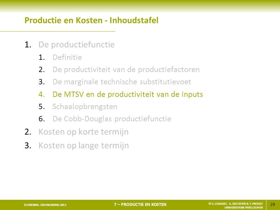29 ECONOMIE, EEN INLEIDING 2013 7 – PRODUCTIE EN KOSTEN © S. COSAERT, A. DECOSTER & T. PROOST UNIVERSITAIRE PERS LEUVEN Productie en Kosten - Inhoudst