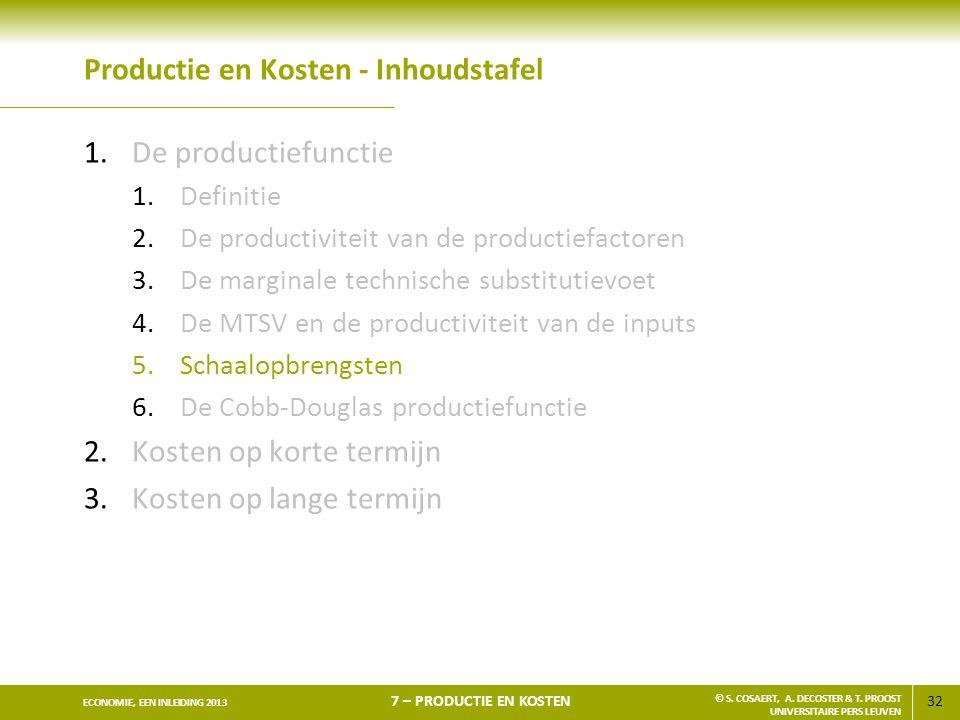 32 ECONOMIE, EEN INLEIDING 2013 7 – PRODUCTIE EN KOSTEN © S. COSAERT, A. DECOSTER & T. PROOST UNIVERSITAIRE PERS LEUVEN Productie en Kosten - Inhoudst
