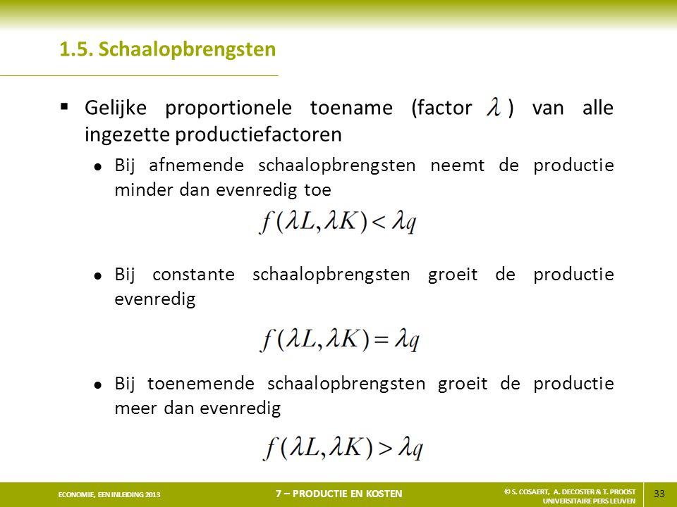 33 ECONOMIE, EEN INLEIDING 2013 7 – PRODUCTIE EN KOSTEN © S. COSAERT, A. DECOSTER & T. PROOST UNIVERSITAIRE PERS LEUVEN 1.5. Schaalopbrengsten  Gelij