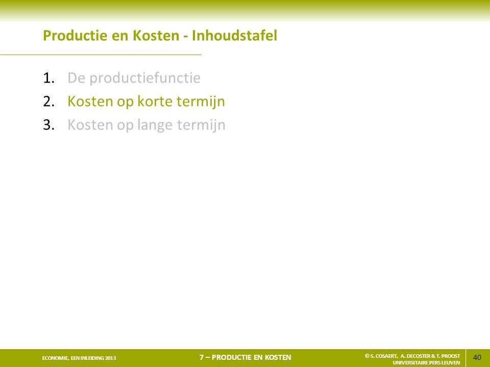 40 ECONOMIE, EEN INLEIDING 2013 7 – PRODUCTIE EN KOSTEN © S. COSAERT, A. DECOSTER & T. PROOST UNIVERSITAIRE PERS LEUVEN Productie en Kosten - Inhoudst