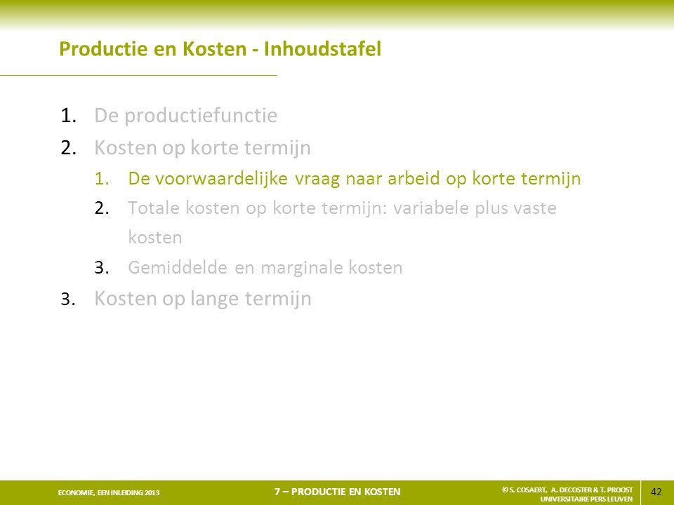 42 ECONOMIE, EEN INLEIDING 2013 7 – PRODUCTIE EN KOSTEN © S. COSAERT, A. DECOSTER & T. PROOST UNIVERSITAIRE PERS LEUVEN Productie en Kosten - Inhoudst