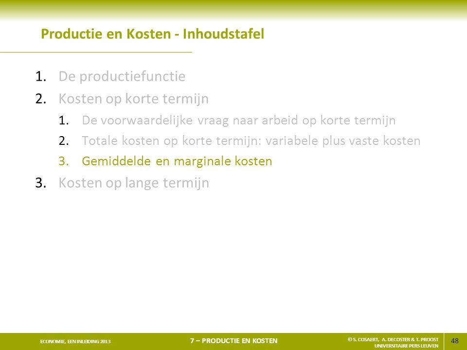 48 ECONOMIE, EEN INLEIDING 2013 7 – PRODUCTIE EN KOSTEN © S. COSAERT, A. DECOSTER & T. PROOST UNIVERSITAIRE PERS LEUVEN Productie en Kosten - Inhoudst