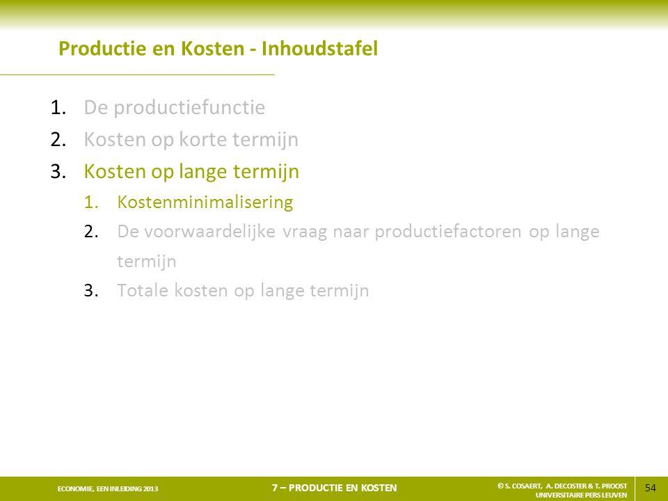 54 ECONOMIE, EEN INLEIDING 2013 7 – PRODUCTIE EN KOSTEN © S. COSAERT, A. DECOSTER & T. PROOST UNIVERSITAIRE PERS LEUVEN Productie en Kosten - Inhoudst