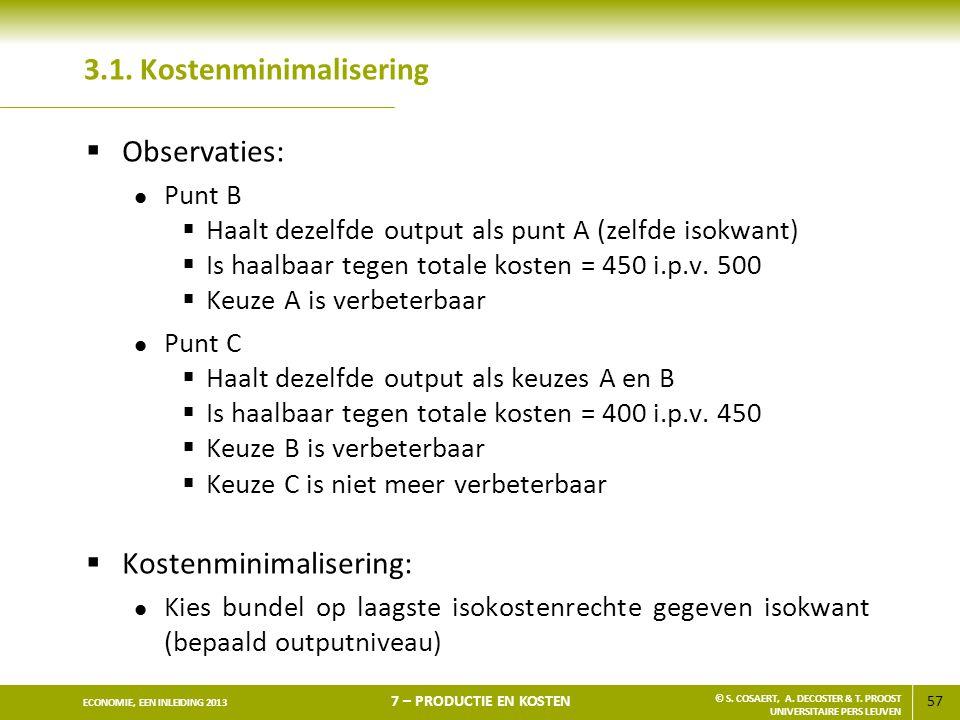 57 ECONOMIE, EEN INLEIDING 2013 7 – PRODUCTIE EN KOSTEN © S. COSAERT, A. DECOSTER & T. PROOST UNIVERSITAIRE PERS LEUVEN 3.1. Kostenminimalisering  Ob