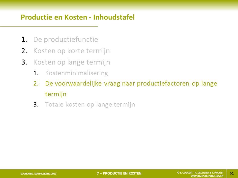 61 ECONOMIE, EEN INLEIDING 2013 7 – PRODUCTIE EN KOSTEN © S. COSAERT, A. DECOSTER & T. PROOST UNIVERSITAIRE PERS LEUVEN Productie en Kosten - Inhoudst