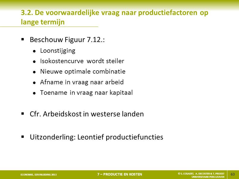 63 ECONOMIE, EEN INLEIDING 2013 7 – PRODUCTIE EN KOSTEN © S. COSAERT, A. DECOSTER & T. PROOST UNIVERSITAIRE PERS LEUVEN 3.2. De voorwaardelijke vraag