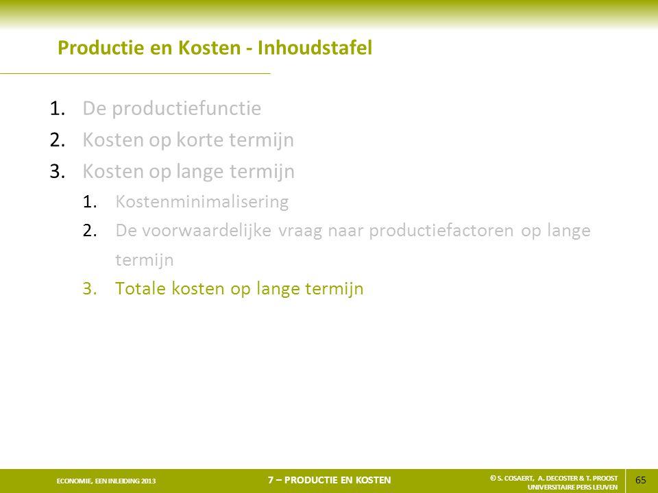 65 ECONOMIE, EEN INLEIDING 2013 7 – PRODUCTIE EN KOSTEN © S. COSAERT, A. DECOSTER & T. PROOST UNIVERSITAIRE PERS LEUVEN Productie en Kosten - Inhoudst