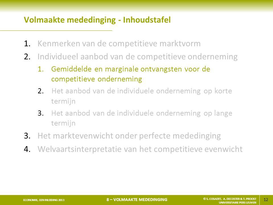 12 ECONOMIE, EEN INLEIDING 2013 8 – VOLMAAKTE MEDEDINGING © S. COSAERT, A. DECOSTER & T. PROOST UNIVERSITAIRE PERS LEUVEN Volmaakte mededinging - Inho