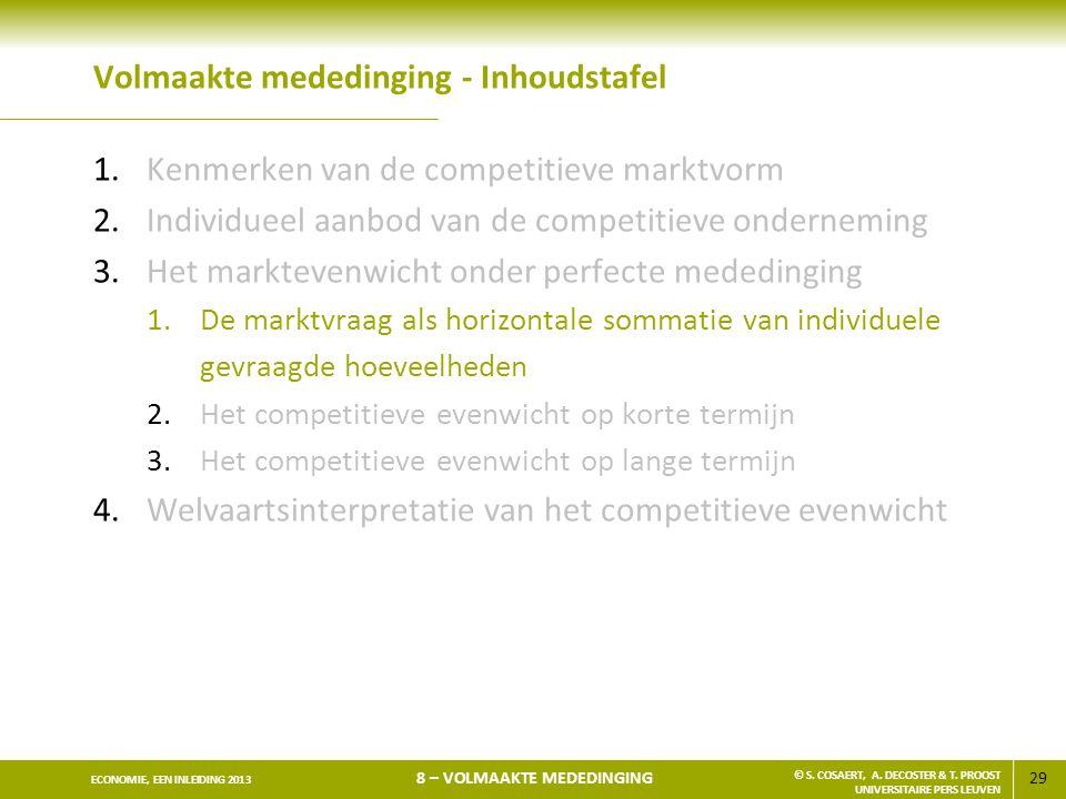 29 ECONOMIE, EEN INLEIDING 2013 8 – VOLMAAKTE MEDEDINGING © S. COSAERT, A. DECOSTER & T. PROOST UNIVERSITAIRE PERS LEUVEN Volmaakte mededinging - Inho