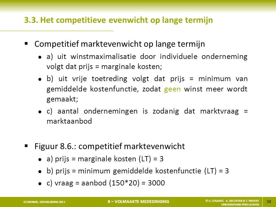 38 ECONOMIE, EEN INLEIDING 2013 8 – VOLMAAKTE MEDEDINGING © S. COSAERT, A. DECOSTER & T. PROOST UNIVERSITAIRE PERS LEUVEN 3.3. Het competitieve evenwi
