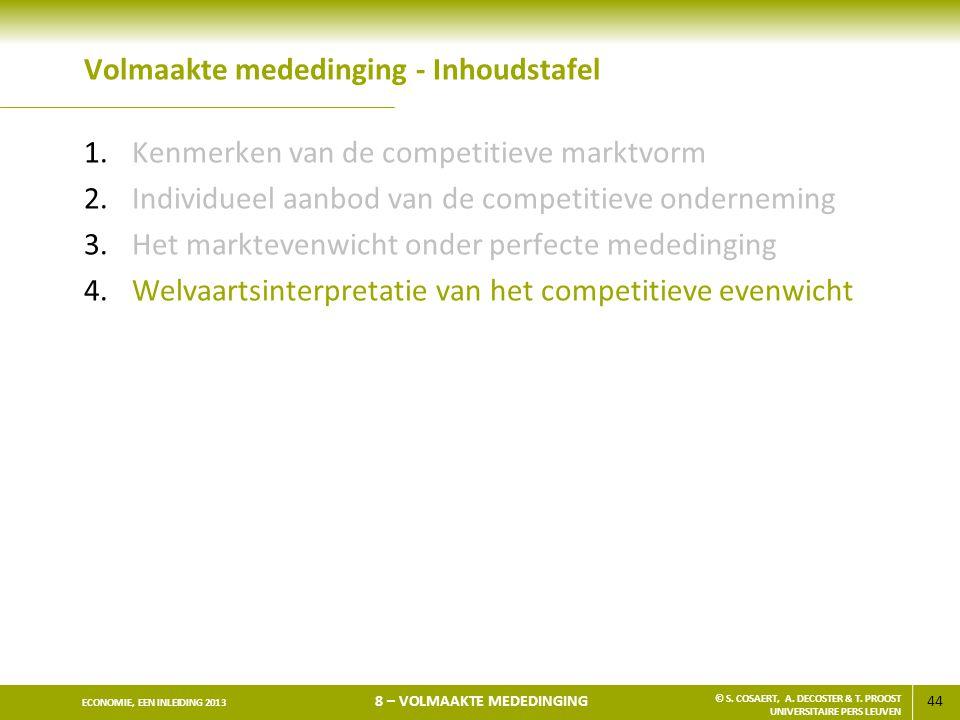 44 ECONOMIE, EEN INLEIDING 2013 8 – VOLMAAKTE MEDEDINGING © S. COSAERT, A. DECOSTER & T. PROOST UNIVERSITAIRE PERS LEUVEN Volmaakte mededinging - Inho