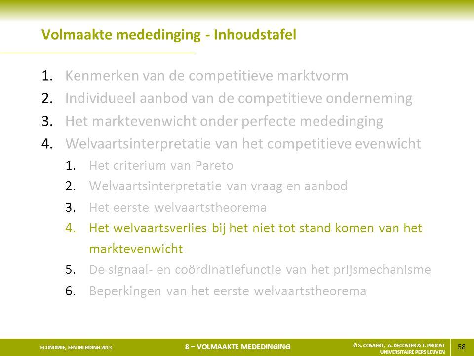 58 ECONOMIE, EEN INLEIDING 2013 8 – VOLMAAKTE MEDEDINGING © S. COSAERT, A. DECOSTER & T. PROOST UNIVERSITAIRE PERS LEUVEN Volmaakte mededinging - Inho