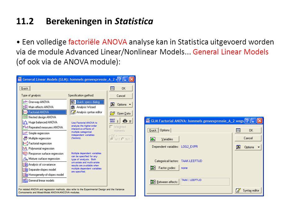11.2 Berekeningen in Statistica Een volledige factoriële ANOVA analyse kan in Statistica uitgevoerd worden via de module Advanced Linear/Nonlinear Mod