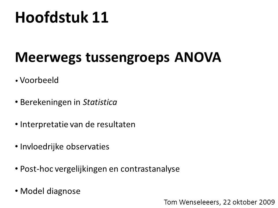 Hoofdstuk 11 Meerwegs tussengroeps ANOVA Voorbeeld Berekeningen in Statistica Interpretatie van de resultaten Invloedrijke observaties Post-hoc vergel