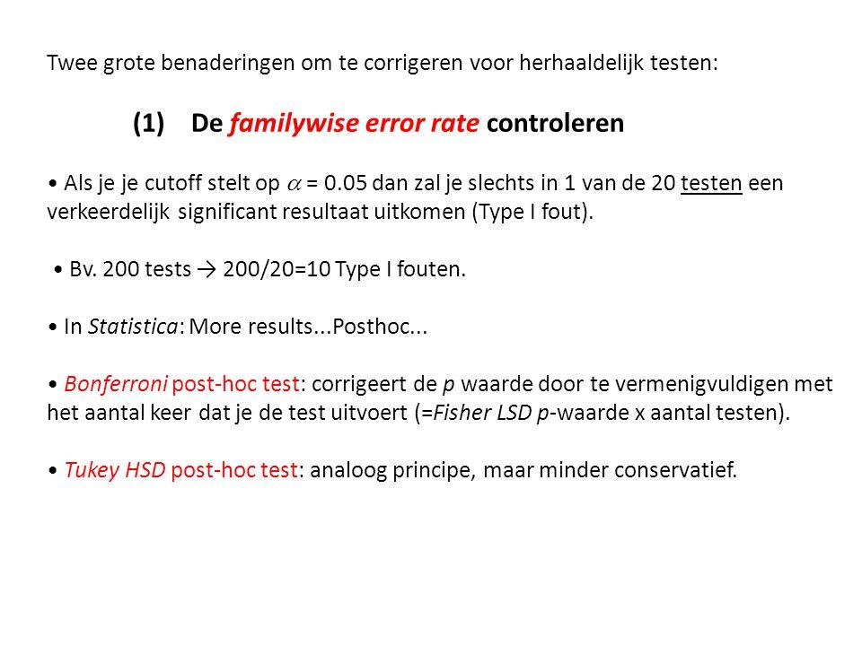 Twee grote benaderingen om te corrigeren voor herhaaldelijk testen: (1) De familywise error rate controleren Als je je cutoff stelt op  = 0.05 dan za