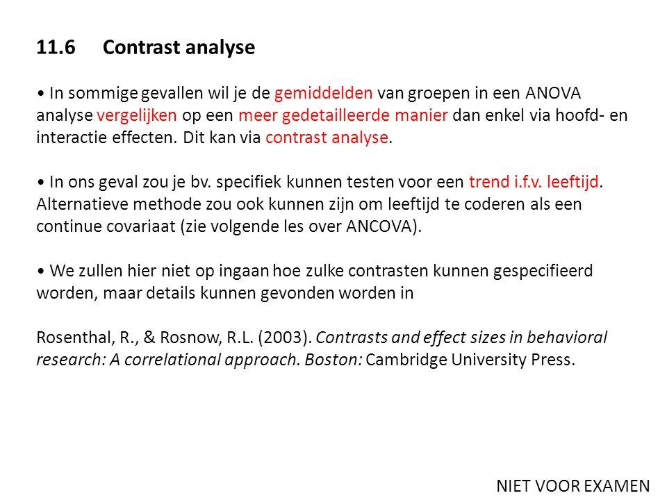 11.6 Contrast analyse In sommige gevallen wil je de gemiddelden van groepen in een ANOVA analyse vergelijken op een meer gedetailleerde manier dan enk