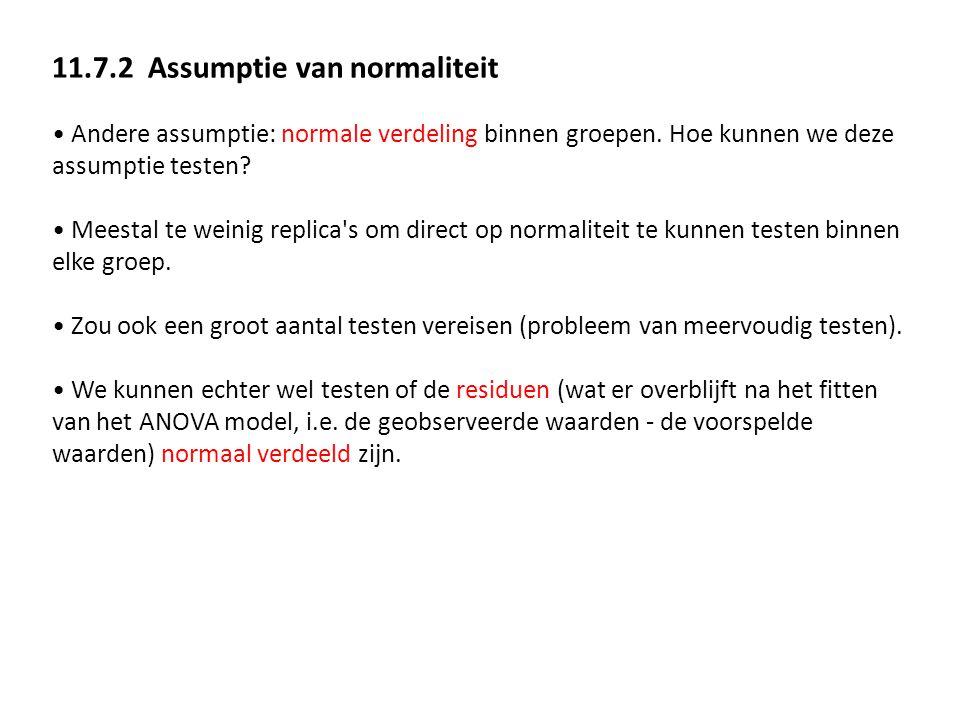 11.7.2 Assumptie van normaliteit Andere assumptie: normale verdeling binnen groepen. Hoe kunnen we deze assumptie testen? Meestal te weinig replica's