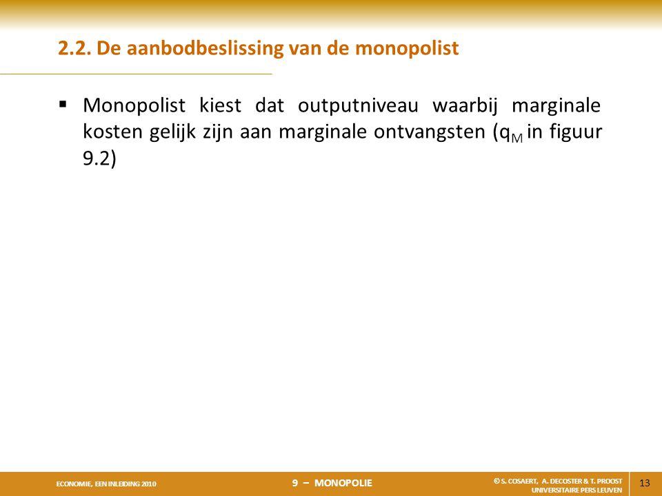 13 ECONOMIE, EEN INLEIDING 2010 9 – MONOPOLIE © S. COSAERT, A. DECOSTER & T. PROOST UNIVERSITAIRE PERS LEUVEN 2.2. De aanbodbeslissing van de monopoli