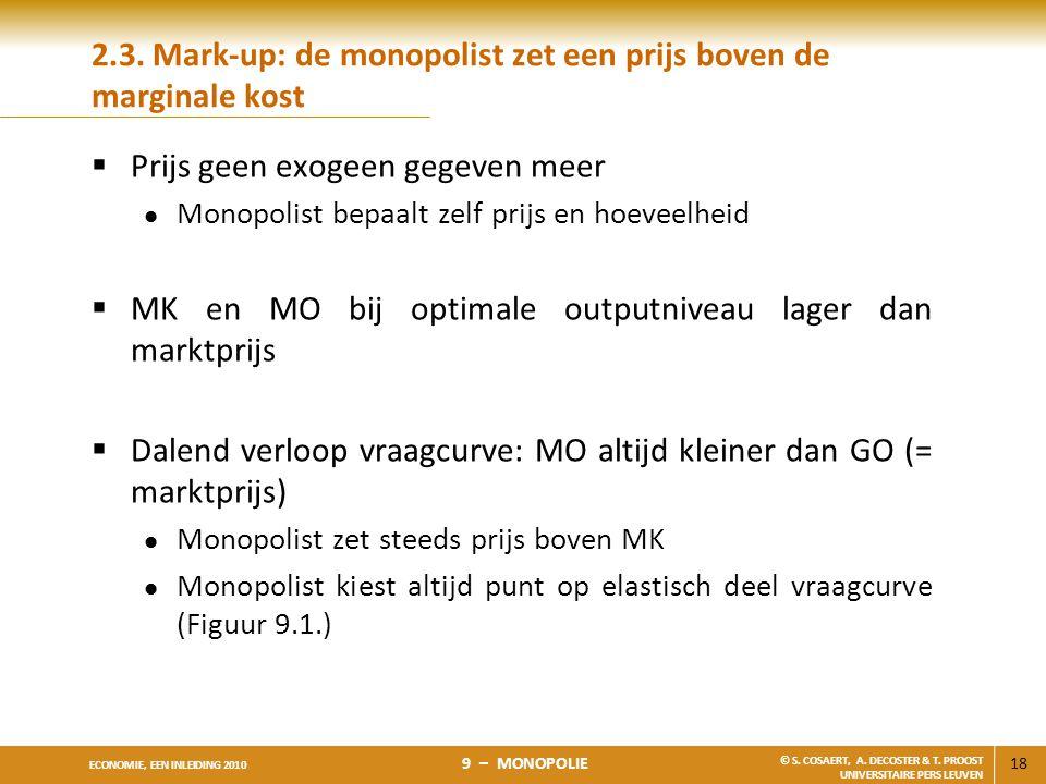 18 ECONOMIE, EEN INLEIDING 2010 9 – MONOPOLIE © S. COSAERT, A. DECOSTER & T. PROOST UNIVERSITAIRE PERS LEUVEN 2.3. Mark-up: de monopolist zet een prij