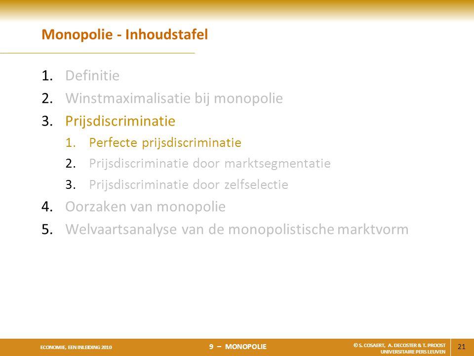 21 ECONOMIE, EEN INLEIDING 2010 9 – MONOPOLIE © S. COSAERT, A. DECOSTER & T. PROOST UNIVERSITAIRE PERS LEUVEN Monopolie - Inhoudstafel 1.Definitie 2.W