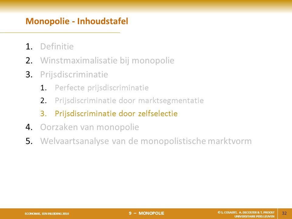 32 ECONOMIE, EEN INLEIDING 2010 9 – MONOPOLIE © S. COSAERT, A. DECOSTER & T. PROOST UNIVERSITAIRE PERS LEUVEN Monopolie - Inhoudstafel 1.Definitie 2.W