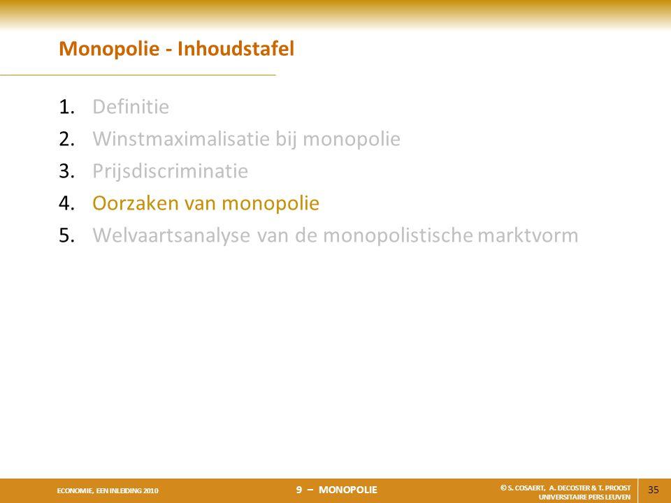 35 ECONOMIE, EEN INLEIDING 2010 9 – MONOPOLIE © S. COSAERT, A. DECOSTER & T. PROOST UNIVERSITAIRE PERS LEUVEN Monopolie - Inhoudstafel 1.Definitie 2.W