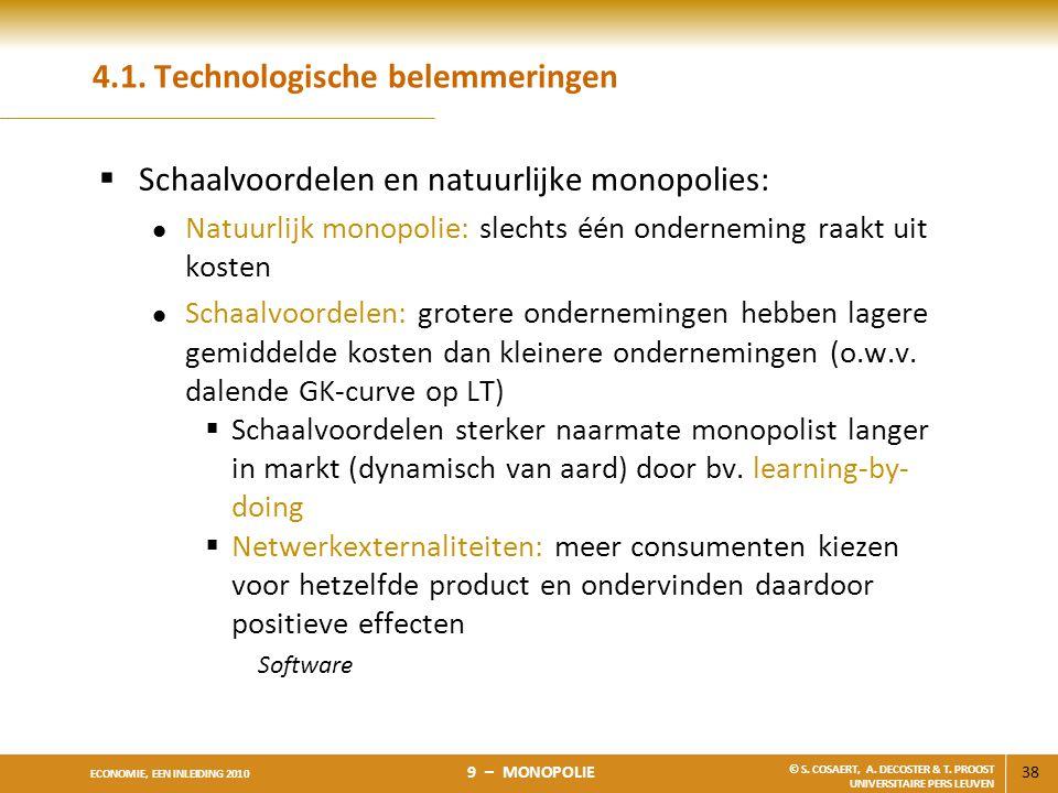 38 ECONOMIE, EEN INLEIDING 2010 9 – MONOPOLIE © S. COSAERT, A. DECOSTER & T. PROOST UNIVERSITAIRE PERS LEUVEN 4.1. Technologische belemmeringen  Scha