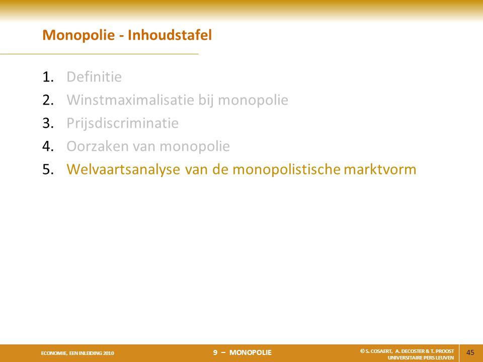 45 ECONOMIE, EEN INLEIDING 2010 9 – MONOPOLIE © S. COSAERT, A. DECOSTER & T. PROOST UNIVERSITAIRE PERS LEUVEN Monopolie - Inhoudstafel 1.Definitie 2.W