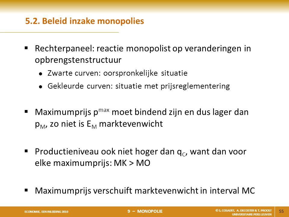55 ECONOMIE, EEN INLEIDING 2010 9 – MONOPOLIE © S. COSAERT, A. DECOSTER & T. PROOST UNIVERSITAIRE PERS LEUVEN 5.2. Beleid inzake monopolies  Rechterp