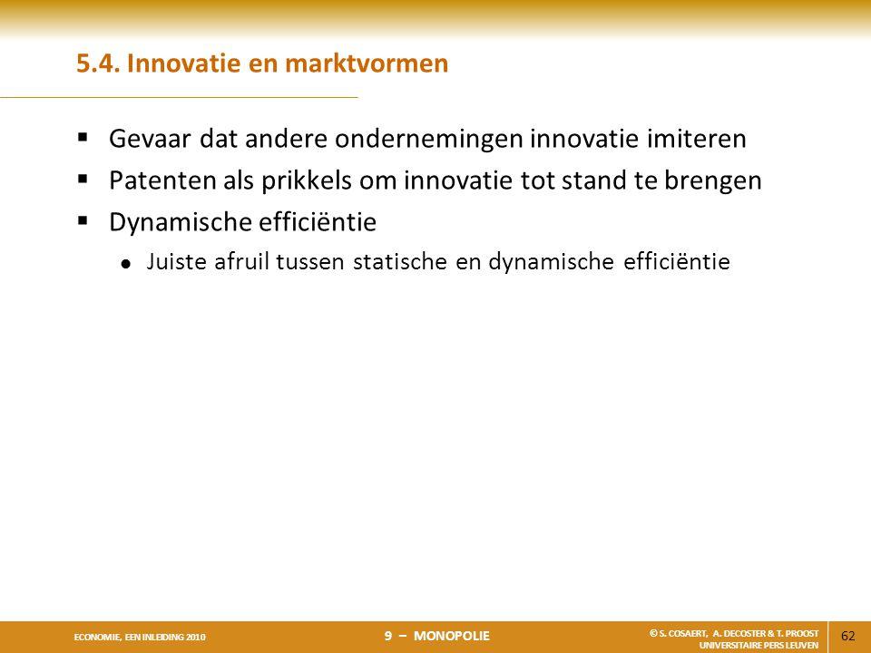 62 ECONOMIE, EEN INLEIDING 2010 9 – MONOPOLIE © S. COSAERT, A. DECOSTER & T. PROOST UNIVERSITAIRE PERS LEUVEN 5.4. Innovatie en marktvormen  Gevaar d