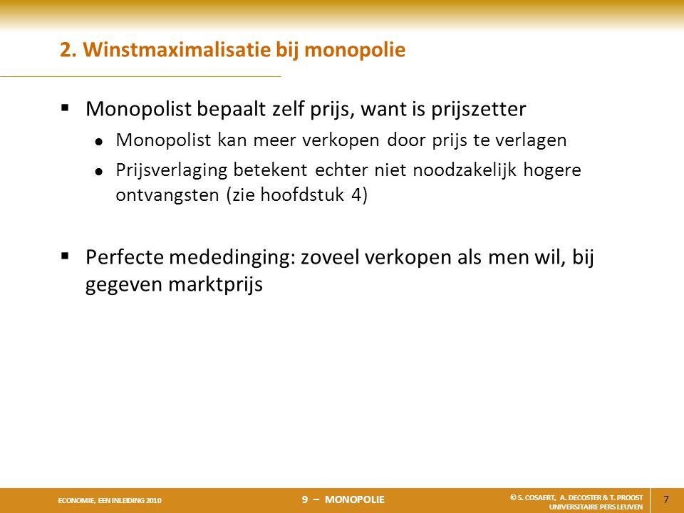 7 ECONOMIE, EEN INLEIDING 2010 9 – MONOPOLIE © S. COSAERT, A. DECOSTER & T. PROOST UNIVERSITAIRE PERS LEUVEN 2. Winstmaximalisatie bij monopolie  Mon