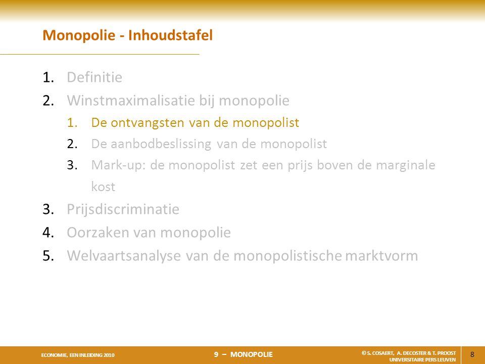 8 ECONOMIE, EEN INLEIDING 2010 9 – MONOPOLIE © S. COSAERT, A. DECOSTER & T. PROOST UNIVERSITAIRE PERS LEUVEN Monopolie - Inhoudstafel 1.Definitie 2.Wi