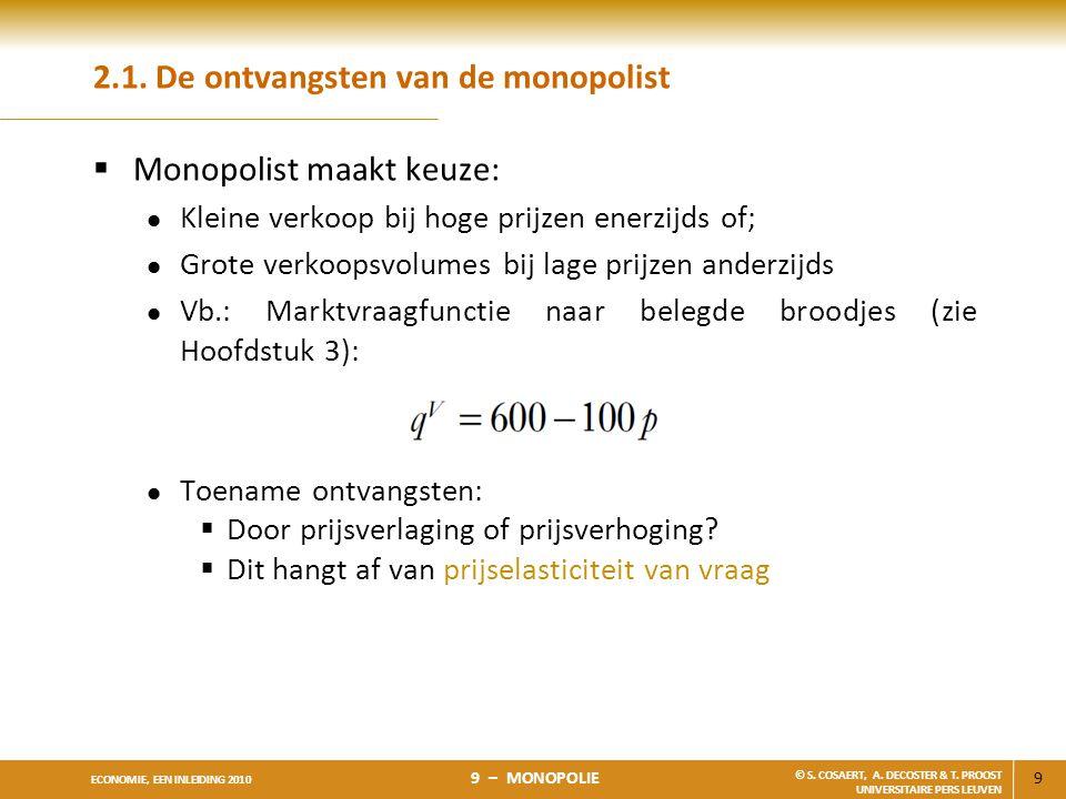 9 ECONOMIE, EEN INLEIDING 2010 9 – MONOPOLIE © S. COSAERT, A. DECOSTER & T. PROOST UNIVERSITAIRE PERS LEUVEN 2.1. De ontvangsten van de monopolist  M