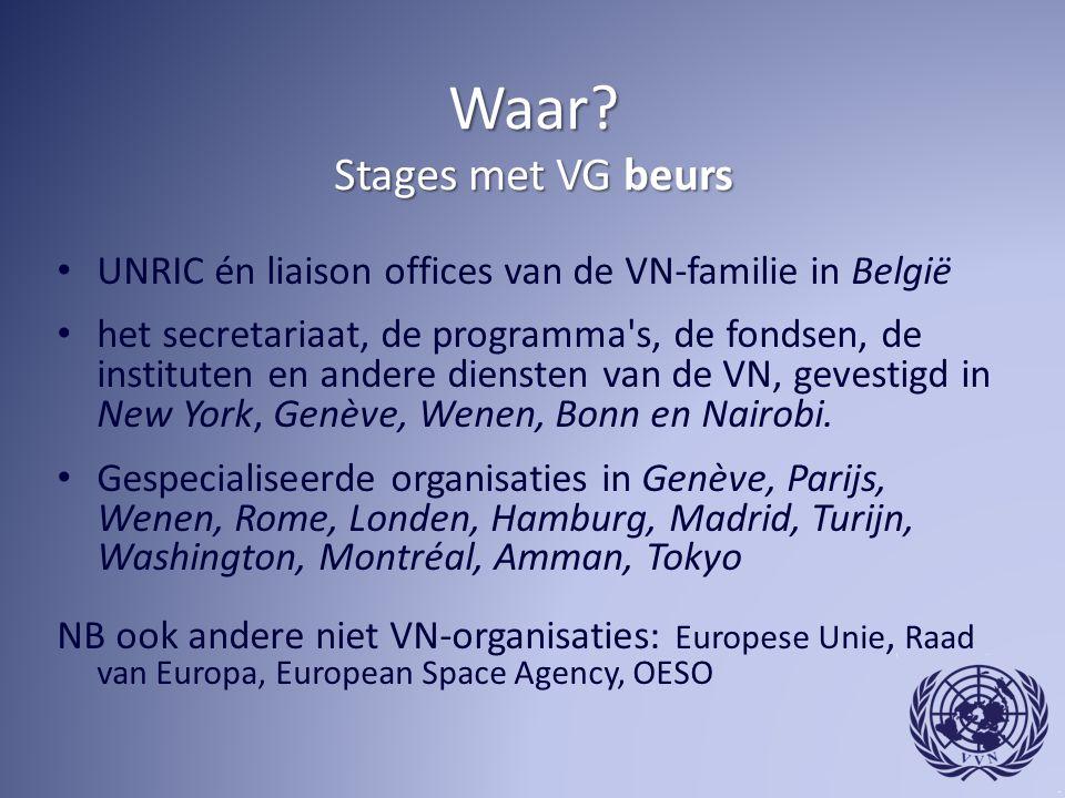 Waar? Stages met VG beurs UNRIC én liaison offices van de VN-familie in België het secretariaat, de programma's, de fondsen, de instituten en andere d