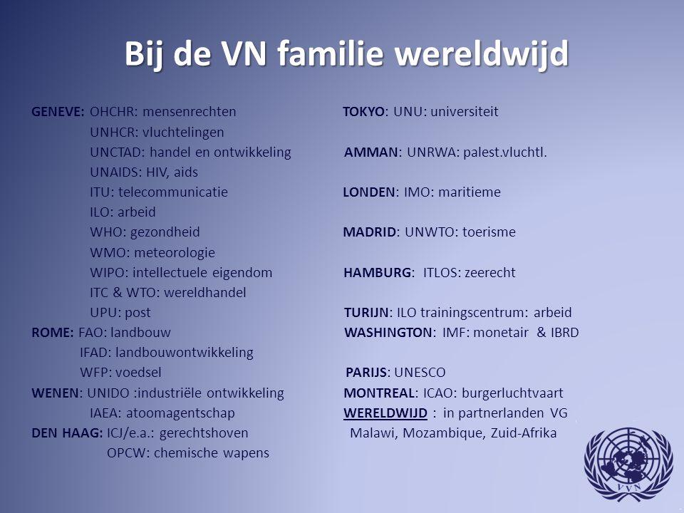 Bij de VN familie wereldwijd Bij de VN familie wereldwijd GENEVE: OHCHR: mensenrechten TOKYO: UNU: universiteit UNHCR: vluchtelingen UNCTAD: handel en