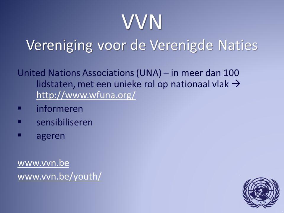 VVN Vereniging voor de Verenigde Naties United Nations Associations (UNA) – in meer dan 100 lidstaten, met een unieke rol op nationaal vlak  http://www.wfuna.org/ http://www.wfuna.org/  informeren  sensibiliseren  ageren www.vvn.be www.vvn.be/youth/