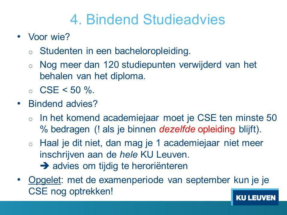 4. Bindend Studieadvies Voor wie? o Studenten in een bacheloropleiding. o Nog meer dan 120 studiepunten verwijderd van het behalen van het diploma. o
