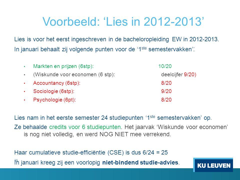 19 Voorbeeld: 'Lies in 2012-2013' Lies is voor het eerst ingeschreven in de bacheloropleiding EW in 2012-2013. In januari behaalt zij volgende punten