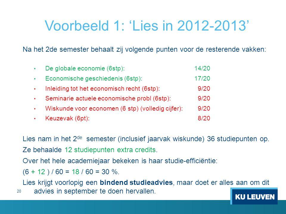 20 Voorbeeld 1: 'Lies in 2012-2013' Na het 2de semester behaalt zij volgende punten voor de resterende vakken: De globale economie (6stp):14/20 Econom
