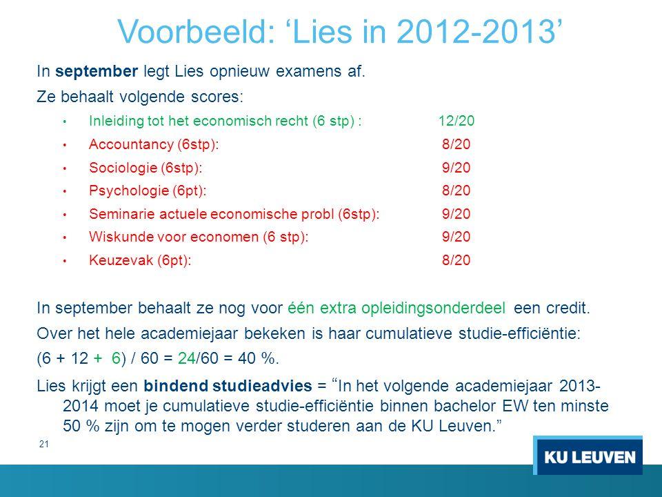 21 Voorbeeld: 'Lies in 2012-2013' In september legt Lies opnieuw examens af. Ze behaalt volgende scores: Inleiding tot het economisch recht (6 stp) :