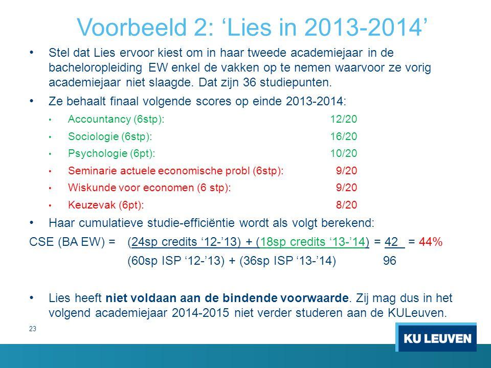 23 Voorbeeld 2: 'Lies in 2013-2014' Stel dat Lies ervoor kiest om in haar tweede academiejaar in de bacheloropleiding EW enkel de vakken op te nemen w